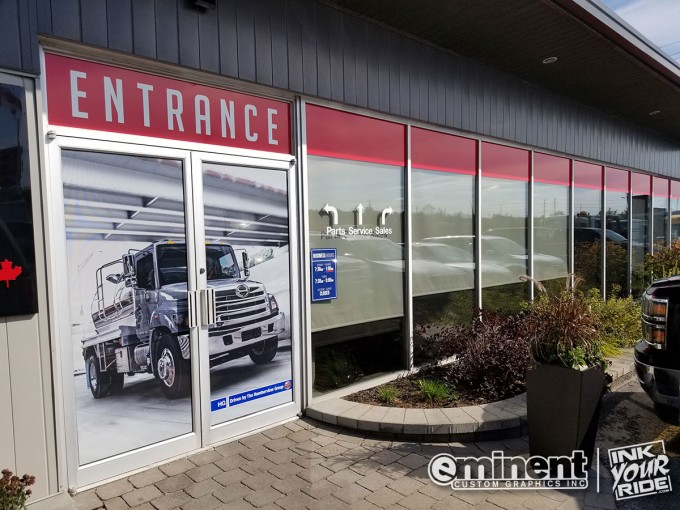 Hino Storefront Window and Door Wrap