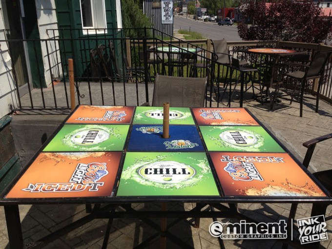 Beer Graphics on Patio Table Wrap