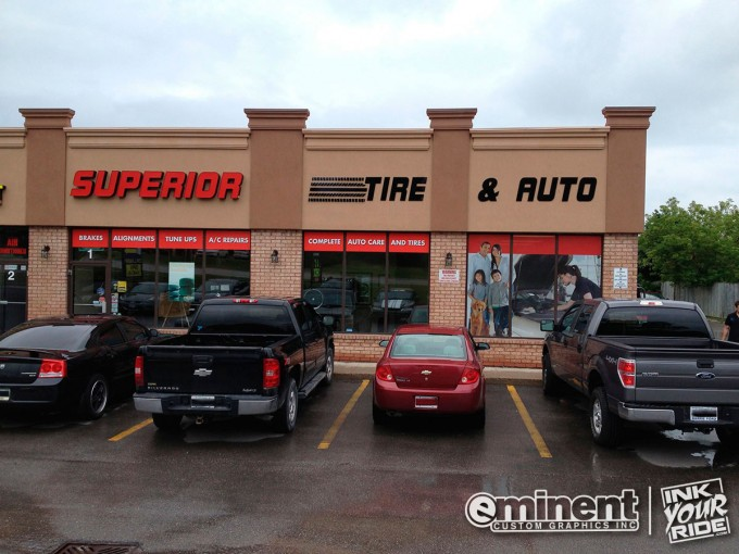 Superior Tire & Auto Window Graphics and Storefront - Barrie